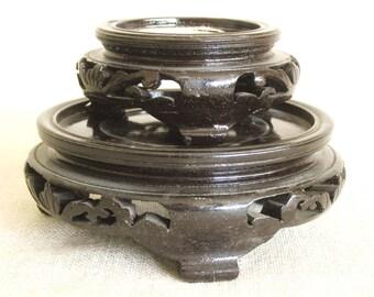 Vintage Asian Style Vase Stand, Pair, Set of 2, Presentation Base, Carved Wood, Pedestal, Riser, Display Stand, Wooden Base, Ginger Jar