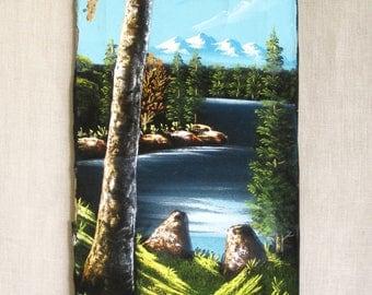 Vintage Landscape Painting on Velvet, Original Fine Art, Rectangular, Handmade, Hand Painted, Nature Scene, Trees,Water,Mountains,Wall Decor