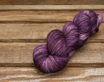 Dyed to order Morado semi solid Simply sock Hand dyed yarn - Superwash merino, nylon, sock yarn, sock yarn, purple