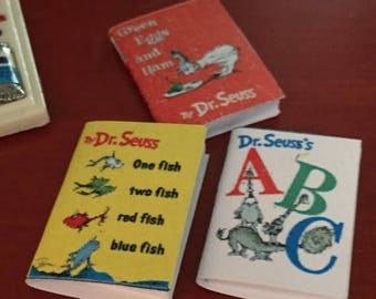SALE Miniature Children's Books, Dr Seuss, Set of 3, One Fish, ABC and Green Eggs and Ham, Dollhouse Miniatures, 1:12 Scale