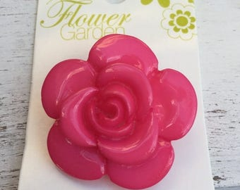 """SALE Shiny Pink Rose Button by Blumenthal Lansing, Flower Garden Collection Style 4802, Shank Back, 1  3/8"""" (34mm)"""
