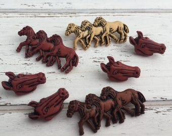 """SALE Horse Buttons, Packaged Novelty Buttons by Buttons Galore, """" Horses"""" Style 4108, Shank Back, Button Assortment Pack, 7 Pieces"""