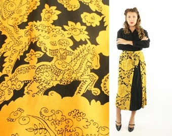 Vintage 40s Circus Novelty Skirt Yellow Plus Size Black Rayon Crepe Pleated 1940s Pinup Rockabilly XL