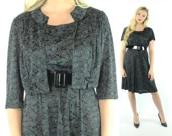 50s Black Paisley Day Dress Short Sleeves Cropped Jacket Bolero Dress Set Suit Vintage 1950s Larg Large PInup Rockabilly Constantine
