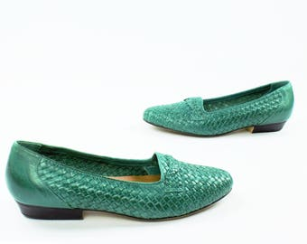 80s Woven Leather Shoes Turquoise Green Loafers Flats Slip Ons Walking Shoes Vintage 1980s Womens Size 8