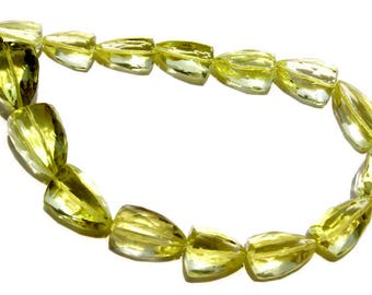 Semiprecious Gemstone Lemon Quartz Faceted Trillion (Long) Beads Quality A, (7x10 to 10x14), LEM-012, Craft supplies For Jewelry Making