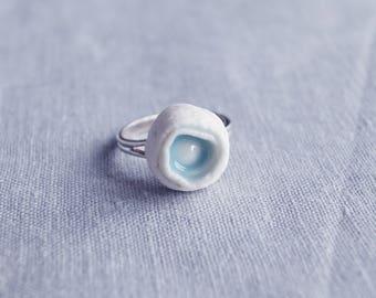 ROLLED No4 porcelain sterling silver ring. Celadon blue glaze, 925 adjustable band, cocktail ring, porcelain ring,