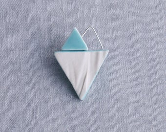 RUCHED No10 geometric heart brooch, white porcelain brooch turquoise jade glaze silver wire geo brooch ceramic brooch assymmetric