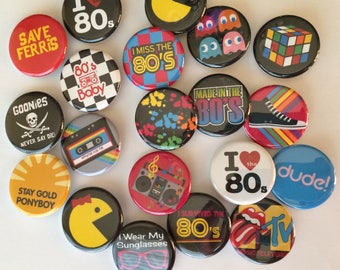 """1980's love the 80's Lot of  20 1.25"""" or 1 inch  I love the 80's flatback, pinback, hollow back or magnet buttons"""