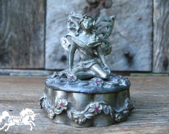 FAIRY TRINKET BOX, Pewter Small 3 Inch Tall Container, Ring Box for Rings or Jewelry, Vintage Metal Fantasy Faerie Faery Fae Pixy Sunglo 96