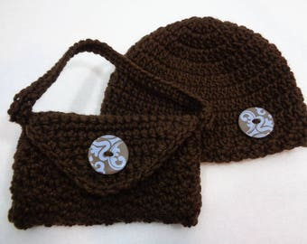 Cream baby poncho with cream flower and button sparkly cream brown hat and purse for 12 18 month old crochet set for baby girl negle Gallery