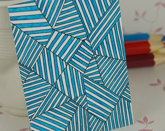 ACEO Art Card Mini Artwork Trading Card Blue Doodle Line Pattern