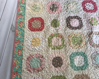Quilt Lap or Baby Modern Vintage Moda Strawberry Fields Fig Tree quilts fabric-- aqua, cream, red, pink, yellow, green
