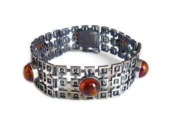 Vintage Baltic Amber Silver Bracelet Modernist Bracelet - Geometric, Mid Century Modern, European Jewelry, Vintage Bracelet