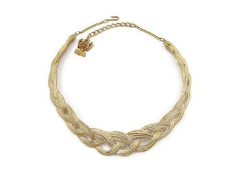 Mosell Necklace, Braided Choker Necklace, Gold Tone, White Enamel, Vintage Necklace, Vintage Jewelry
