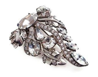 Eisenberg Sterling Rhinestone Fur Clip - Art Deco Jewelry, Pave Rhinestones, Foil Back Stones, Old Hollywood Glamour, Vintage Dress Clip