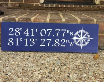 Latitude And Longitude Sign ~ Coordinates Sign ~ Lake Decor ~ GPS Coordinates Sign ~ New Home Sign ~ Address Sign ~ GPS Sign ~ Moving Away