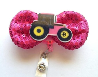 BIG Clearance Sale Pink Tractor Sequin Bow Name Badge Reel