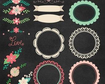 50%OFF Chalkboard clipart, chalkboard floral frames, chalkboard frame clipart, chalkboard floral clipart, chalkboard digital paper, P191