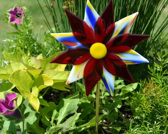 Fused Glass Flower Plant Stake, Garden Stake, Glass Flowers, Gardeners Gift, Yard Art, Garden Art, Red, Yellow and Blue, Housewarming Gift