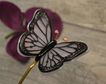 Butterfly Plant Stake, Fused Glass, Garden Stake, Lavender Butterfly, Iridescent Butterfly, Hand Painted, Plant Decor