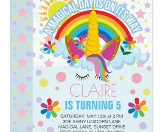 Unicorn Birthday Invitation - Unicorn Party Invitation - Unicorn Floral Invite - Magical Party
