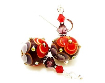 Red Purple Earrings, Flower Earrings, Lampwork Earrings, Glass Bead Earrings, Glass Earrings, Floral Earrings, Unique Earrings