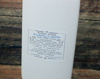 8 ounce Handcrafted Blueberry Vanilla  Scented  Goat Milk Lotion, Handmade Body Lotion, Made In Maine, Bath and Body, Skin Care