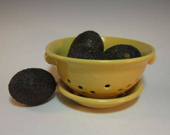 Warm Yellow Colander Fruit Berry Bowl with Tray - In Stock