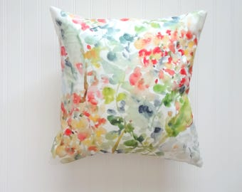 Rustic Hydrangea Watercolor Pillow Covers, Designer Fabric, 18x18, 20x20, 24x24 or Lumbar