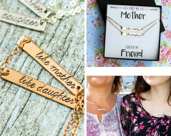 FREE SHIP • Mother Daughter Necklace Set • Gift Mom Daughter Bar Necklace Like Mother Like Daughter Jewelry Set • Mom Bar Necklace Mother