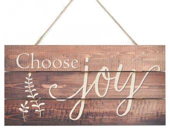 Choose Joy Wooden Plank Sign 5x10