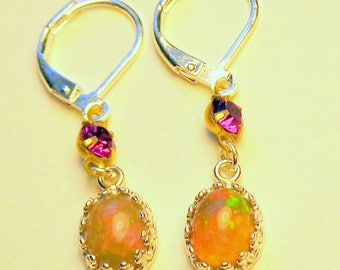 Striking, Natural Welo Opal,,Sterling Silver Earring Settings,Color Play Opals, Pink Swarovski Crystals, Fine Jewellry, Hand Crafted, OOAK