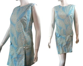 Vintage 1960s Paisley Print Mod SCOOTER Dress with Attached Shorts, Romper, Size Large, XL, Starlite of Miami