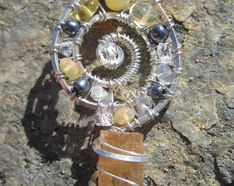 Sacred Spiral//Awakening//Imperial Topaz, Opal, Iodized Silver, Double Terminated Pakimer Quartz, & Sterling Silver Wire Wrap Pendant, Art