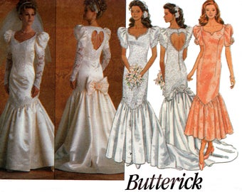 Butterick 3183 Womens Mermaid Hem Heart Cut Out Wedding Dress 90s Sewing Pattern Size 6 8 10 12 Bust 32 1/2 34 Inches UNCUT Factory Folded