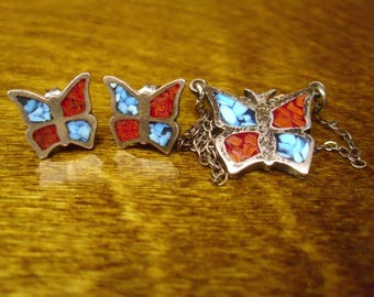 Vintage 1970's  Sterling/Turquoise Butterfly Necklace & Earrings