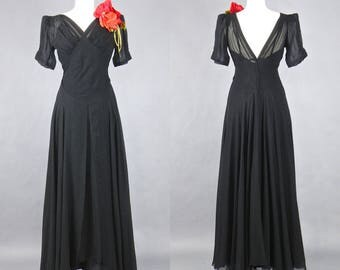 Vintage 1930s Dress, 30s Silk Evening Dress with Plunging Back, Old Hollywood Glamour, Medium