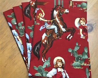 Cowgirl with Red Background w/Guns & Horses Reusable Cloth Napkins Set of 4 Double Sided 100% Cotton Eco Friendly Large 20 x 20