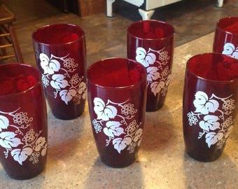 Vintage Anchor Hocking Royal Ruby Red Grape Glass Tumbler Set of 6