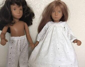 White Yoke Dress, Pants, and Slip for Sasha Doll