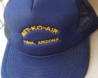 Bet-Ko-Air, Yuma Arizona Navy Blue with Gold Snapback Fits All Baseball Cap Hat Clean Like New!