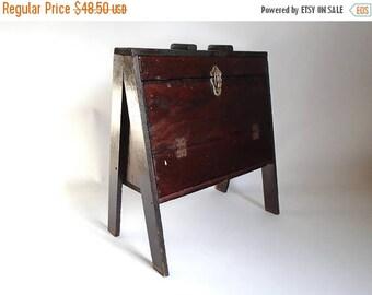 SALE - Antique Wooden A-Frame Shoe Shine Kit Storage Box