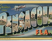 Greetings From Pensacola Florida Large Letter linen postcard