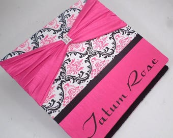 Girl Baby Book Personalized Baby Memory Book Hot Pink Black Damask Modern baby Book Scrapbook Shower Gift Keepsake Album Pregnancy Journal