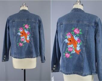 Embroidered Denim Jacket / Koi Fish Pink Floral Embroidery / Embroidered Jean Jacket / Tattoo Koi Goldfish / Medium Large M L