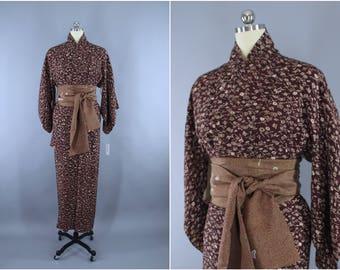 1950s Vintage Silk Kimono Robe / Wedding Dressing Gown Lingerie / Downton Abbey Art Deco / Brown Floral