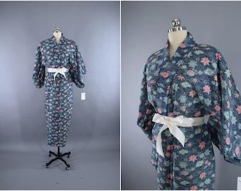 1960s Vintage Kimono Robe / Wedding Dressing Gown Lingerie / WOOL Muslin / Downton Abbey Art Deco / Blue & Pink Floral