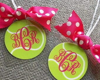 Monogrammed Tennis Bag Tag, Tennis Gift , Tennis Bag Tag, Tennis Mom Gift, Tennis Coach Gift, Tennis Party Favor, Tennis Team Bag Tag