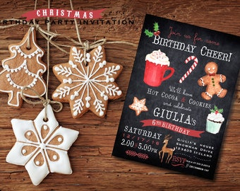 Christmas  BIRTHDAY party invitation - Holiday Birthday Invitation - Winter Birthday